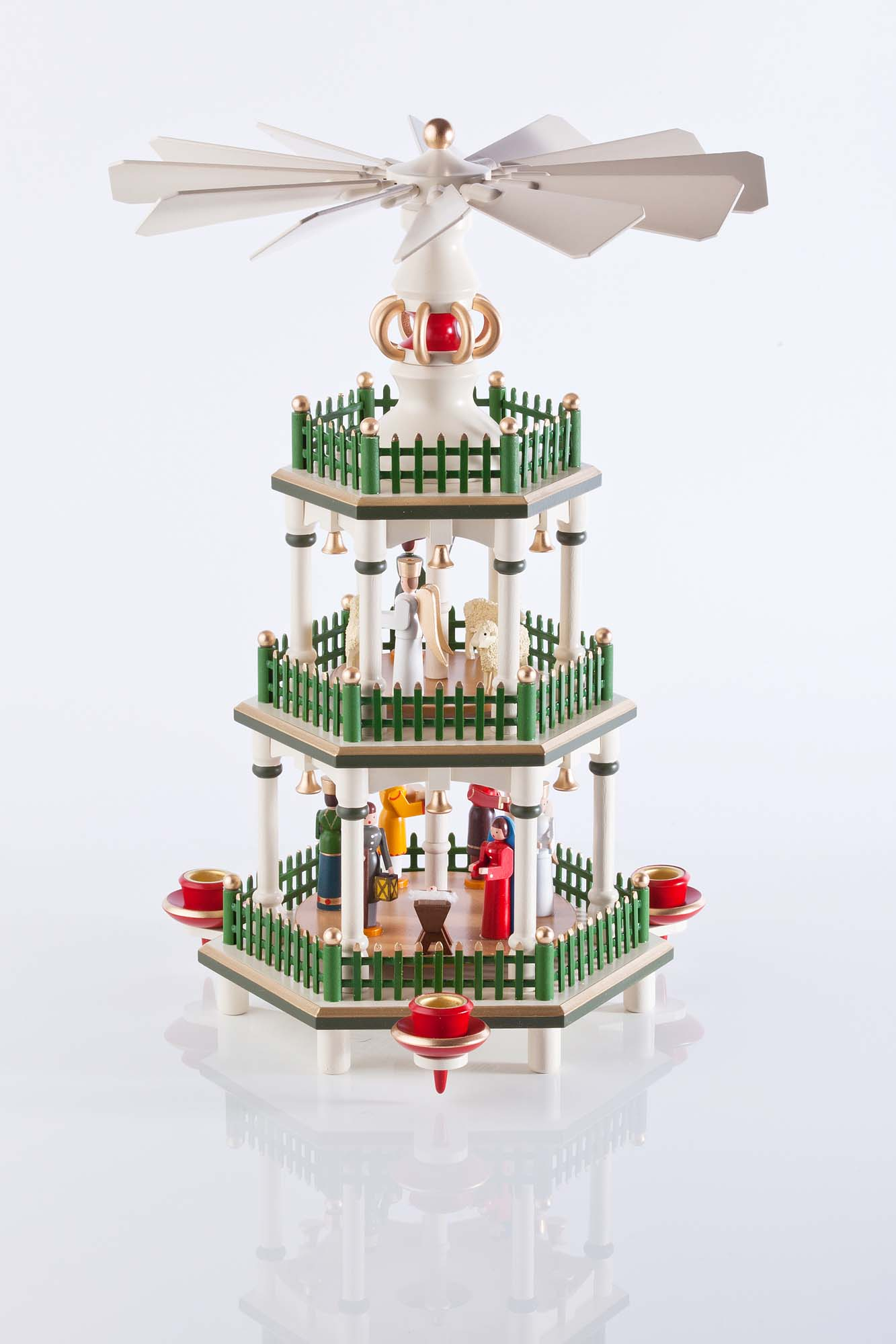 Weihnachtspyramide in historischen Farben, 3 Etagen 85/59/1, 35cm