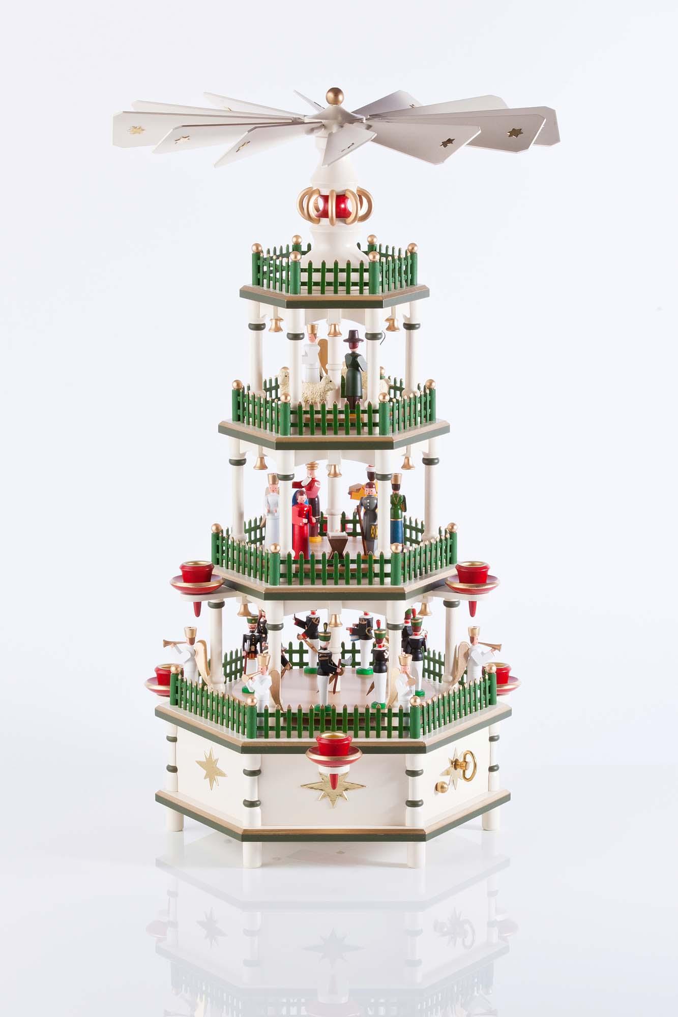 Weihnachtspyramide in historischen Farben mit Spielwerk,4 Etagen 86/1/1, 50cm