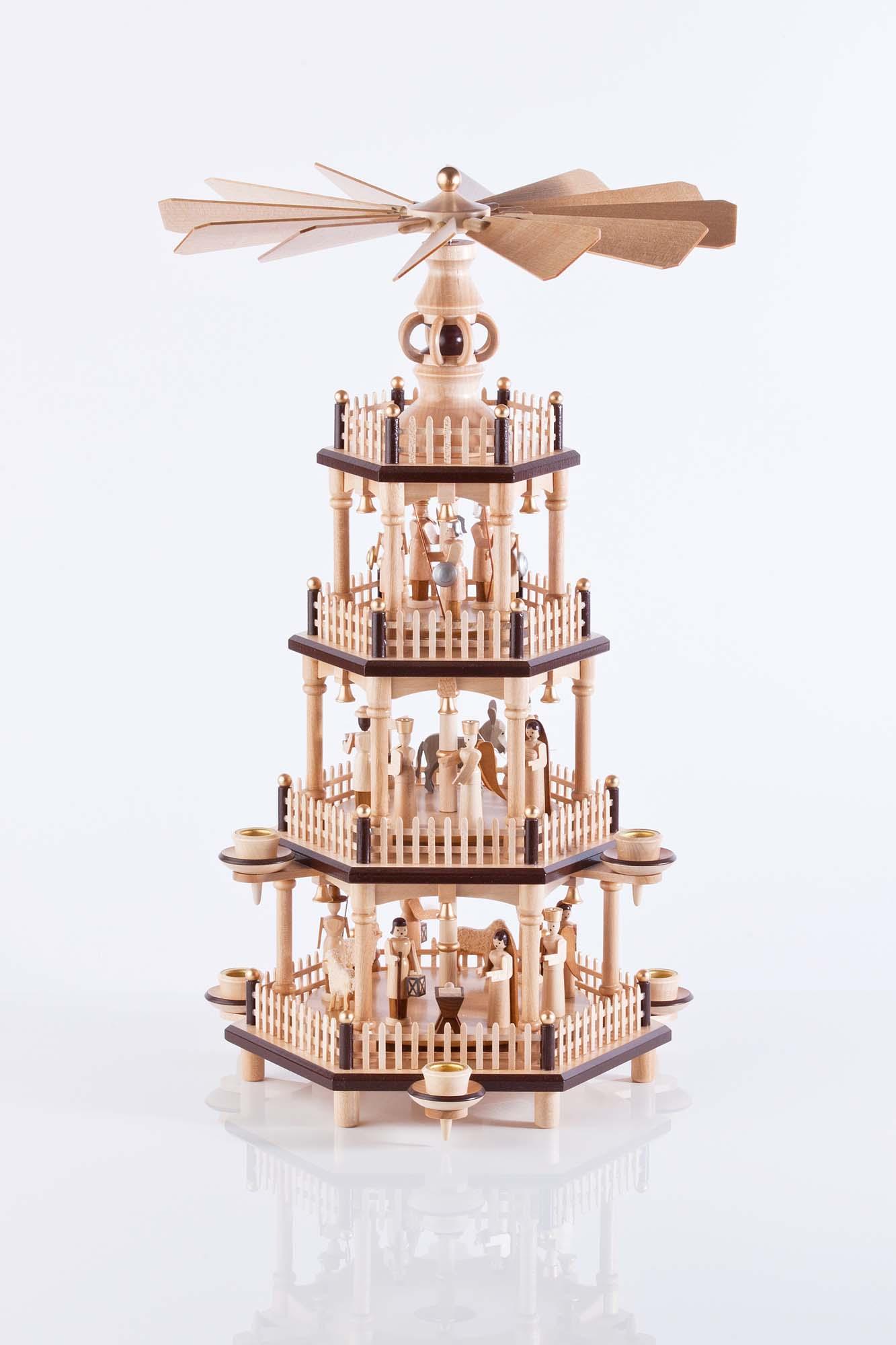 Weihnachtspyramide in Naturholz, Figuren natur, 4 Etagen 85/201, 45cm