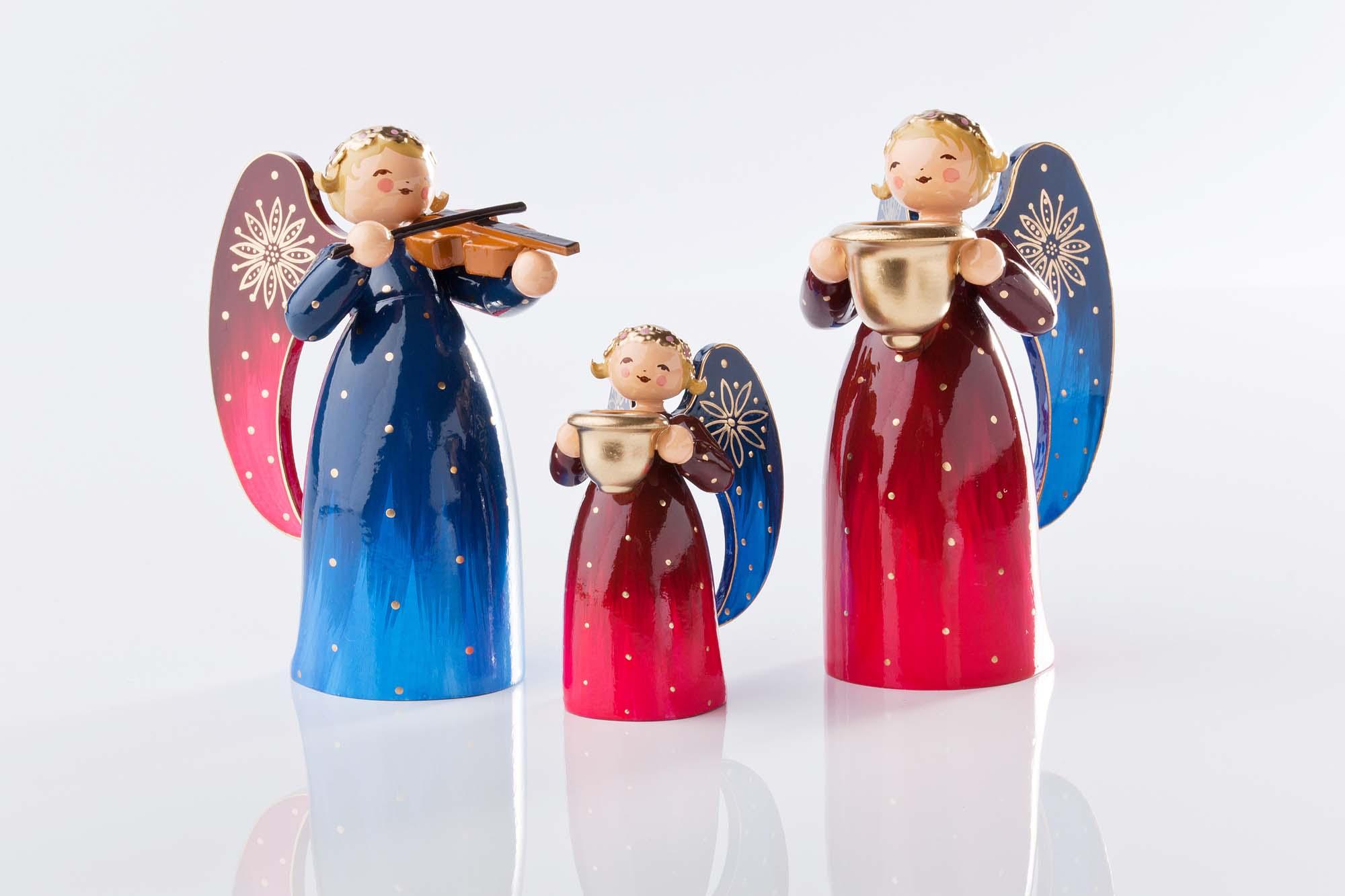 Engel reich bemalt, Violine 553/2R, klein mit Lichtnapf 553/R, mittel 553/1R
