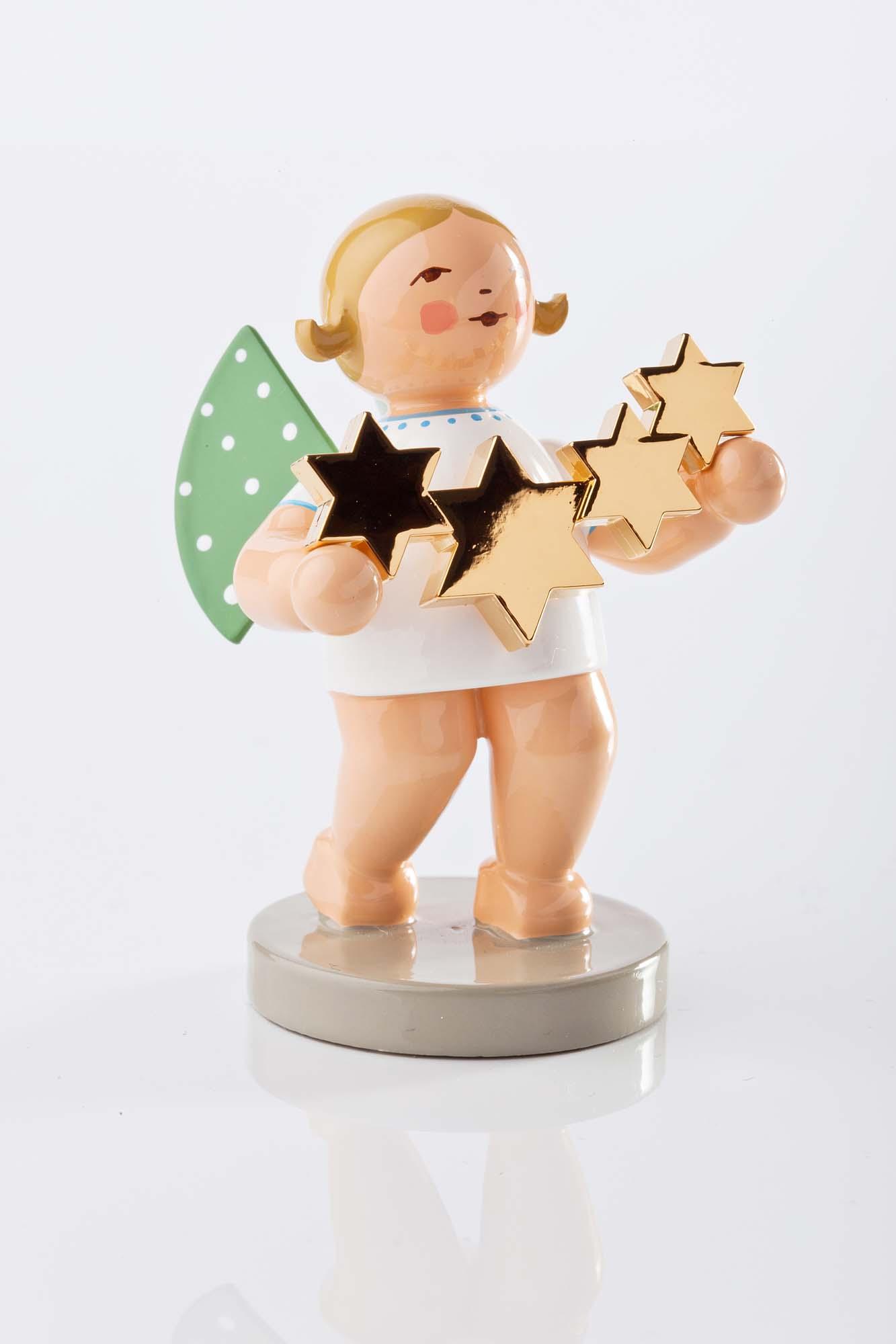 Grünhainichener Engel Sternenfänger mit vergoldeten Sternen 650/118